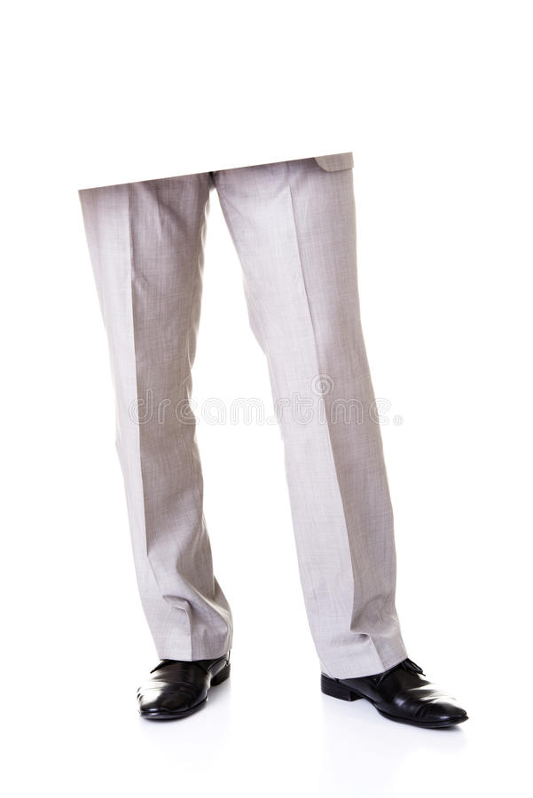 Jambes masculines et blanc vide. photo stock