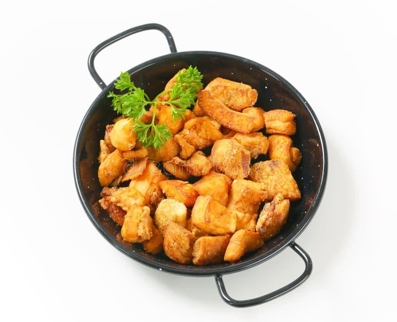Jambières frites croustillantes de porc photographie stock