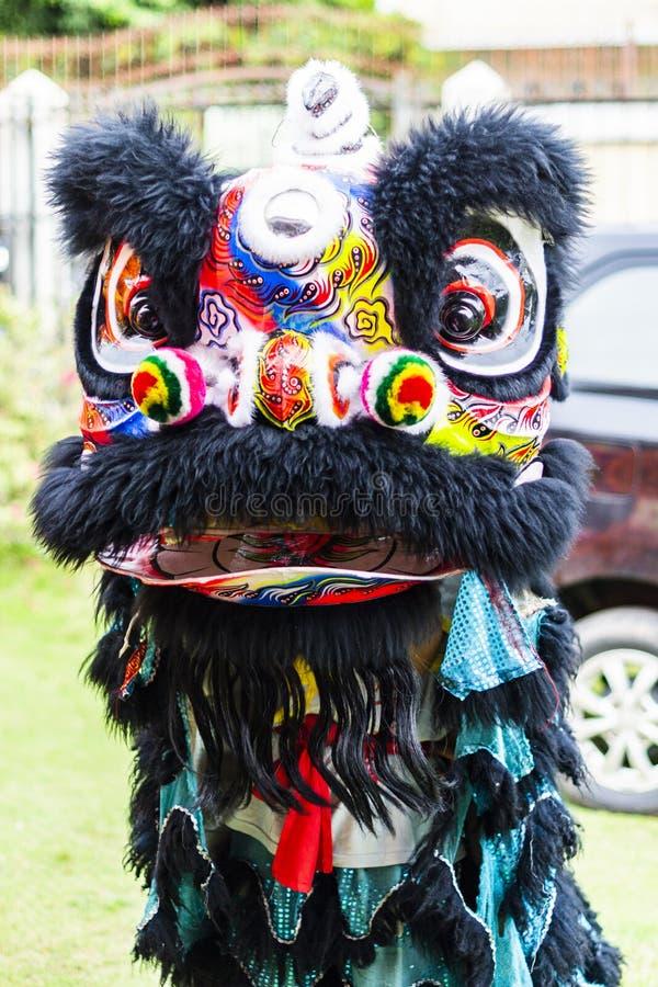 Jambi, Индонезия - 28-ое января 2017: Танец льва делая акробатику для того чтобы отпраздновать китайский Новый Год стоковая фотография rf