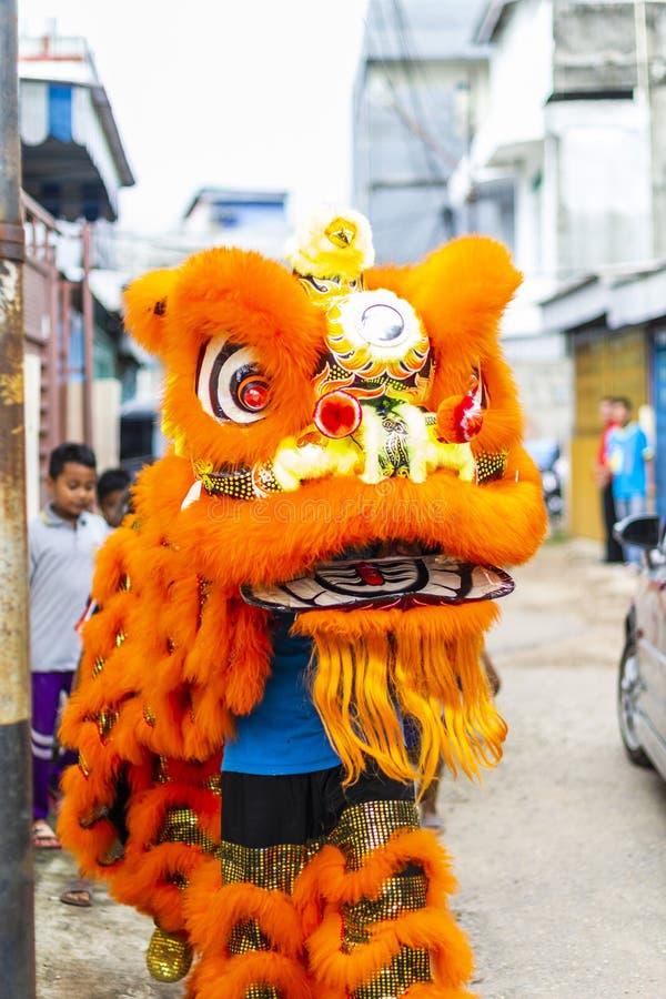 Jambi, Indonésia - 28 de janeiro de 2017: Dança de leão que faz a acrobacia para comemorar o ano novo chinês fotos de stock royalty free