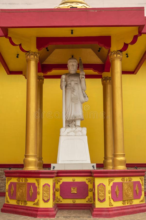 Jambi, Indonesia - October 7, 2018: A relief sculpture depicting gods/deity in Buddhism. In Vihara Satyakirti Jambi royalty free stock photo