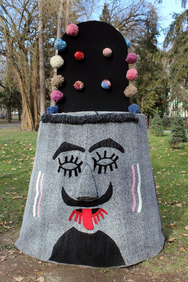 从jambol的传统保加利亚欢乐面具 库存图片