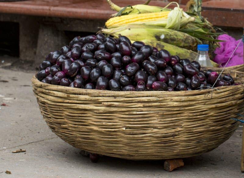 Jamun Berry. Jambolan plum or jambhul or jamun fruit, Java plum Syzygium cumini stock image