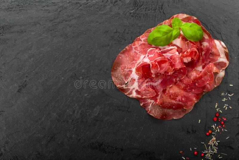 Jambon de Parme de Di de Coppa images libres de droits