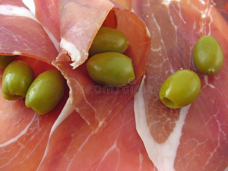 Jambon et olives image stock