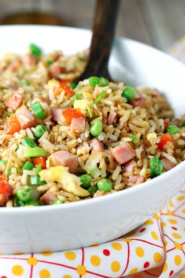 Jambon et riz frit photographie stock libre de droits