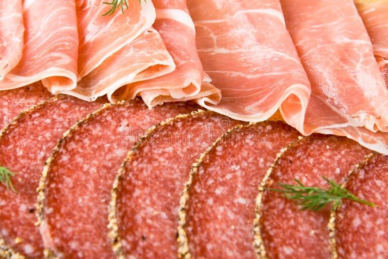 Jambon et salami de Parme photographie stock libre de droits