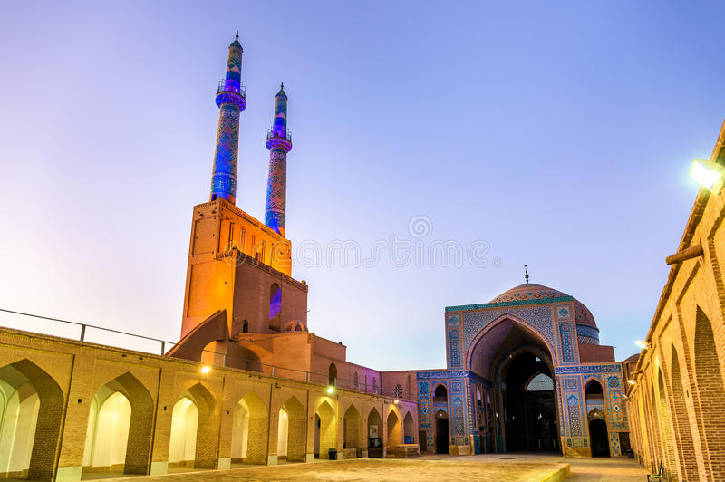 Jame Mosque of Yazd in Iran. Courtyard of the Jame Mosque of Yazd in Iran. The mosque is crowned by a pair of minarets, the highest in Iran royalty free stock images