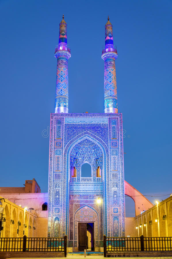 Jame Mosque of Yazd in Iran. The mosque is crowned by a pair of minarets, the highest in Iran royalty free stock images