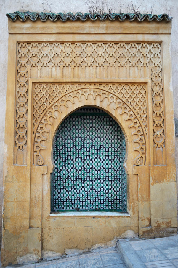 Jamee lakbire Medersa in the medina of Sale. Detail of decor, Morocco royalty free stock photography