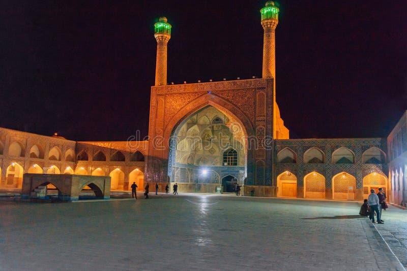 Jameh meczet przy nocą w Isfahan Iran zdjęcia stock