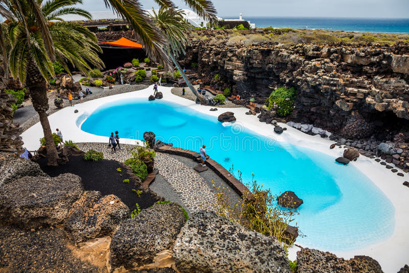 Jameos del Agua pool. Photography of a pool in Jameos del Agua cave, Lanzarote, Canary Island, Spain royalty free stock photography
