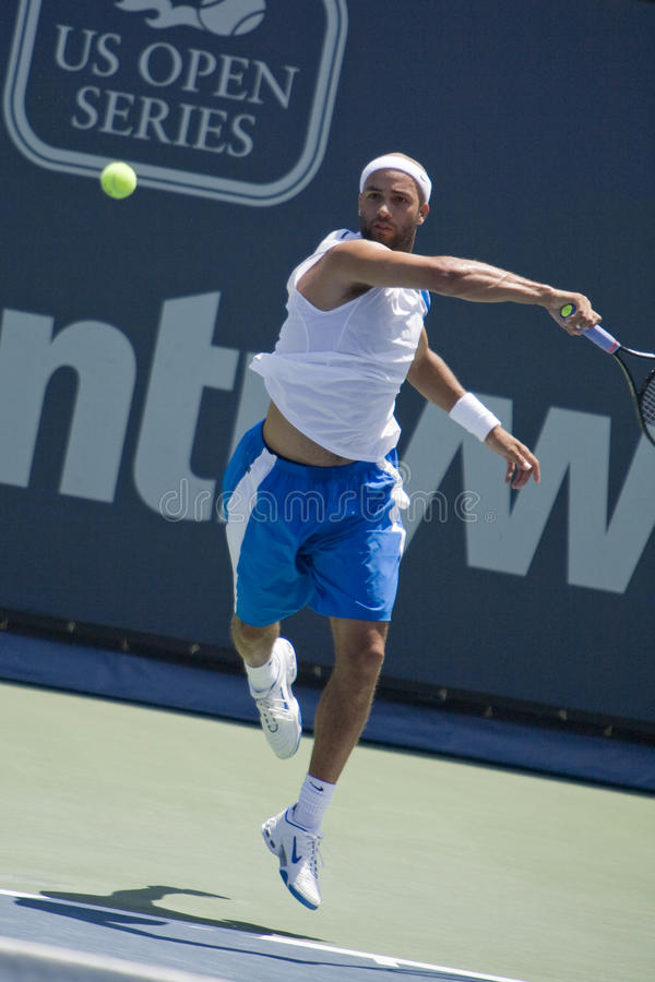 James Blake at the Los Angeles Open Tennis Tournam. WESTWOOD, CA - JULY 20: James Blake (pictured) playing against Vincent Spadea at the US Open Series royalty free stock photo