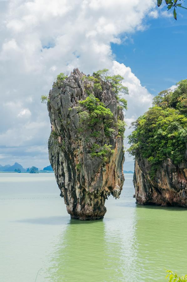 James Bond Island also call Nail Island, is a small limestone cliff. Vertical stand on the sea with 20 metres high. Its diameter ranging in the top around 8 royalty free stock images