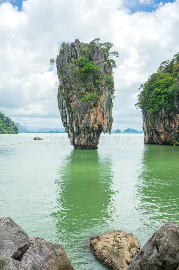 James Bond Island also call Nail Island, is a small limestone cliff. Vertical stand on the sea with 20 metres high. Its diameter ranging in the top around 8 stock photos