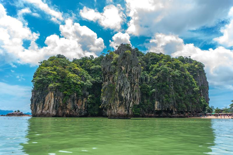 James Bond Island also call Nail Island, is a small limestone cliff. Vertical stand on the sea with 20 metres high. Its diameter ranging in the top around 8 stock photo