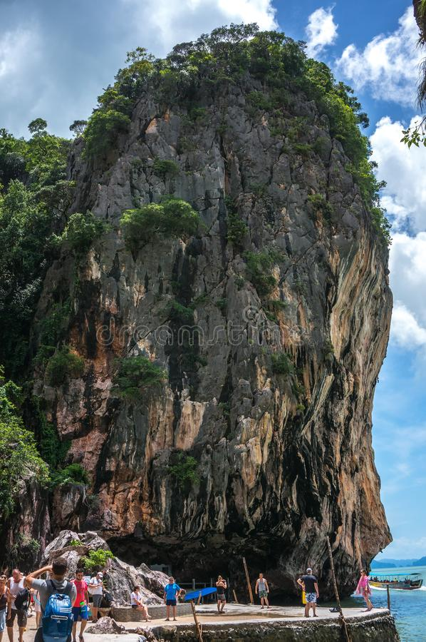 James Bond Island also call Nail Island, is a small limestone cliff. Vertical stand on the sea with 20 metres high. Its diameter ranging in the top around 8 royalty free stock photography