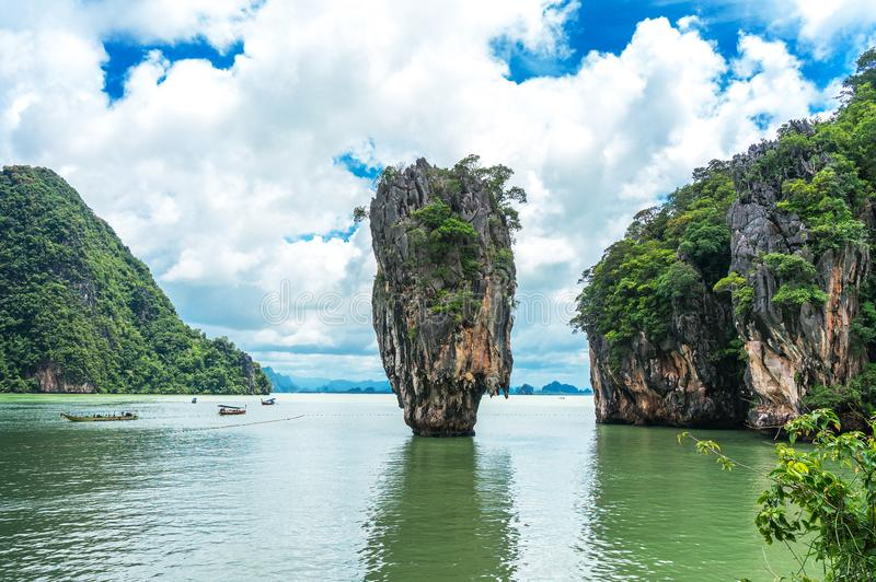 James Bond Island also call Nail Island, is a small limestone cliff. Vertical stand on the sea with 20 metres high. Its diameter ranging in the top around 8 stock images