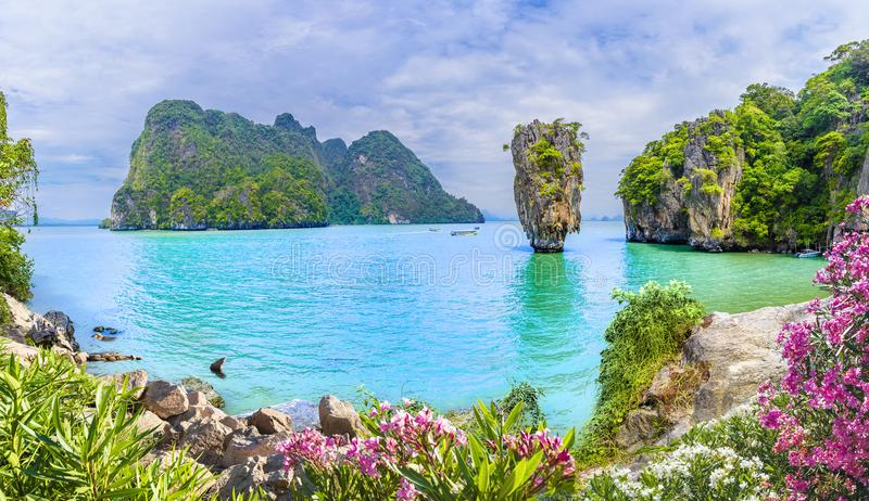 James Bond Island sur la baie de Phang Nga, Thaïlande photo stock