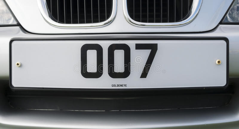 James Bond 007 Personalised Number Plate stock images