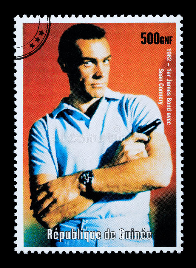 James Bond Postage Stamp. REPUBLIC OF GUINEA - CIRCA 2003: A postage stamp printed in the Republic of Guinea showing James Bond, circa 2003 royalty free stock photo