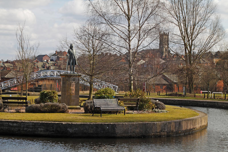 James Brindley. A statue of James Brindley the eighteenth century canal engineer stands near the junction of the Trent and Mersey and Calden canals stock images