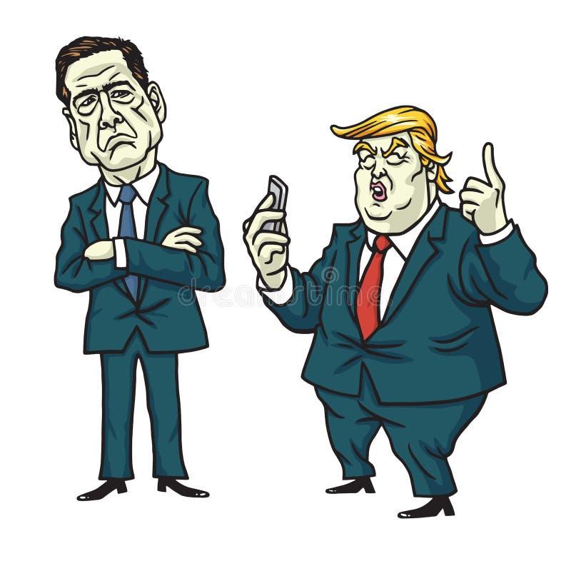 James Comey mot Donald Trump Tecknad filmvektor Juni 13, 2017 royaltyfri illustrationer