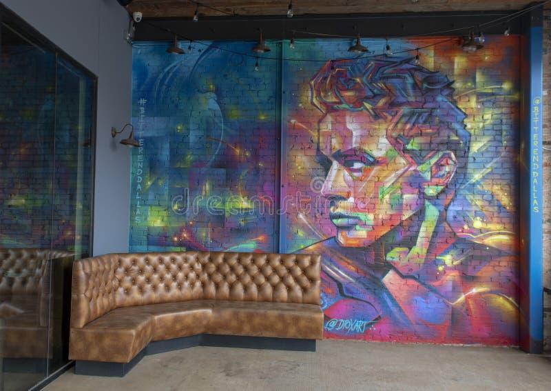 James Dean aerosol na ceglanym malowidle ?ciennym Jerod Detox Davies, lokalizowa? w G??bokim Ellum, Dallas fotografia royalty free
