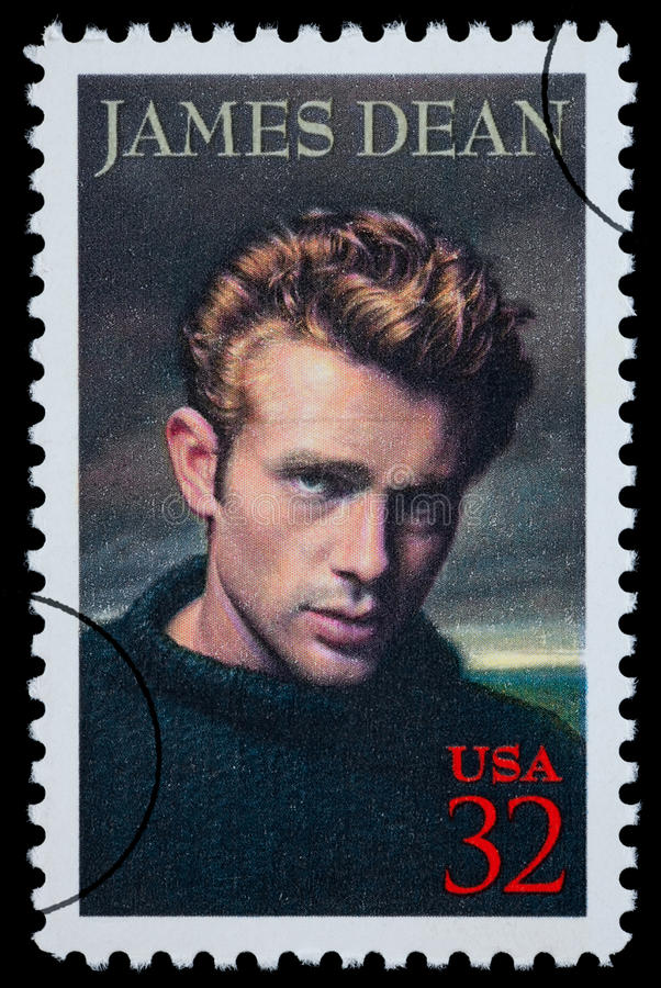 James Dean Postage Stamp. UNITED STATES AMERICA - CIRCA 2000: A postage stamp printed in the USA showing James Dean, circa 2000