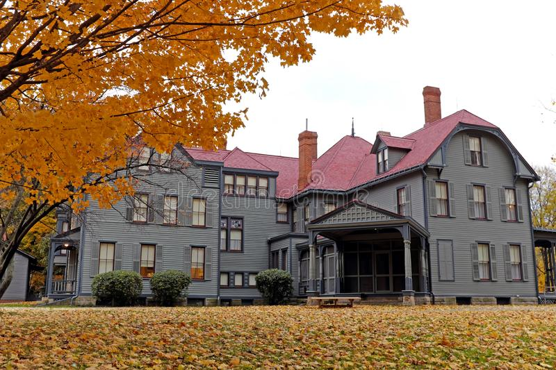 James A. Garfield house in the fall in Mentor, Ohio, USA. royalty free stock photography