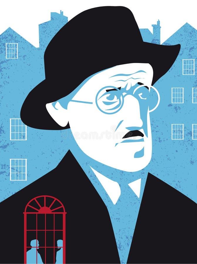 James Joyce, poeta irlandês e escritor ilustração do vetor
