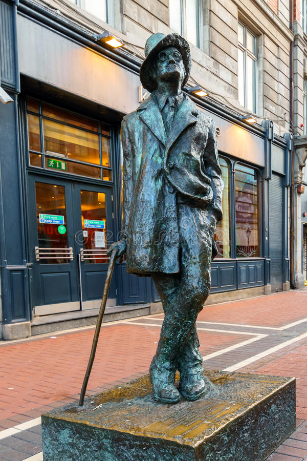 James Joyce statue located in city center Dublin on North Earl Street stock image
