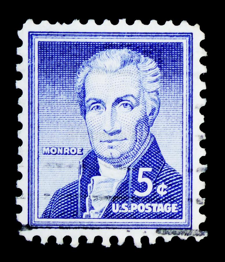 James Monroe (1758-1831), fifth President of the U.S.A., Liberty Issue serie, circa 1954 stock image