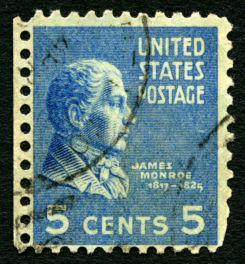 James Monroe USA portostämpel royaltyfri bild
