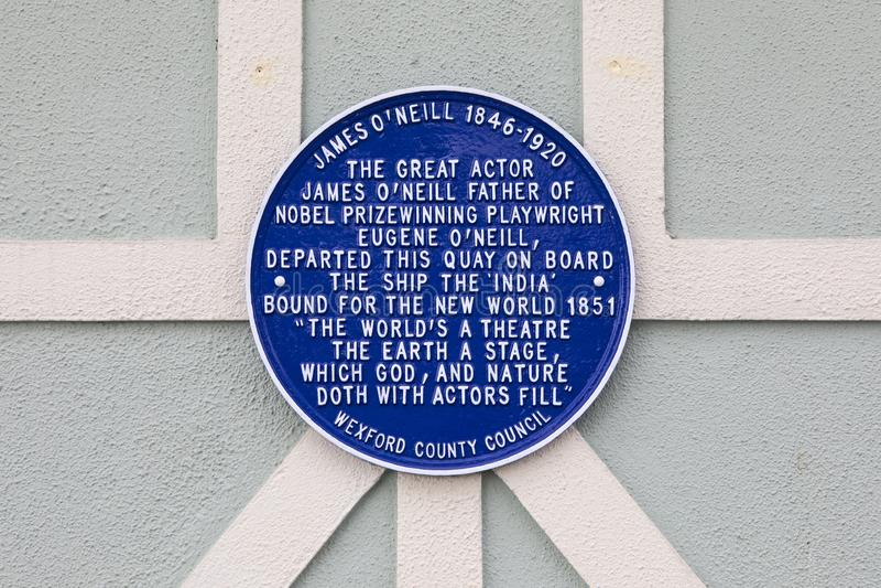 James O ` Neill plakieta w Nowym Ross, Irlandia obrazy royalty free