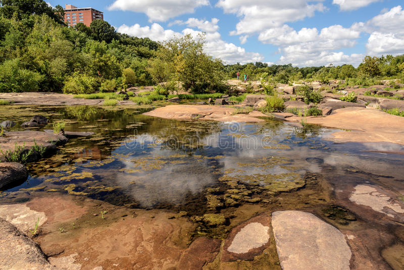 James River in Richmond Va. The James river during low water located within the city limits of Richmond Virginia stock photo