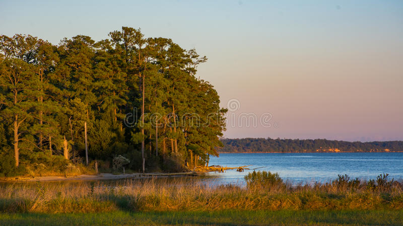 James River Sunset. Sunset along the colonial parkway overlooking the James River near Jamestown Virginia royalty free stock photo