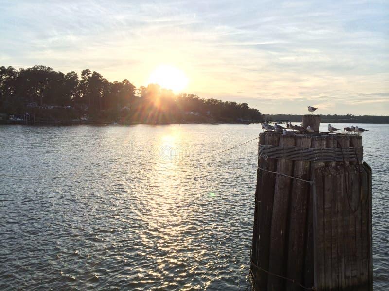 James River Sunset in Surry la Virginia immagine stock libera da diritti