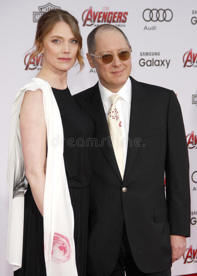 James Spader and Leslie Stefanson. At the World premiere of Marvel's 'Avengers: Age Of Ultron' held at the Dolby Theatre in Hollywood, USA on April 13, 2015 stock photo