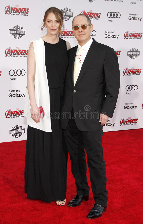 James Spader and Leslie Stefanson. At the World premiere of Marvel's 'Avengers: Age Of Ultron' held at the Dolby Theatre in Hollywood, USA on April 13, 2015 stock photos