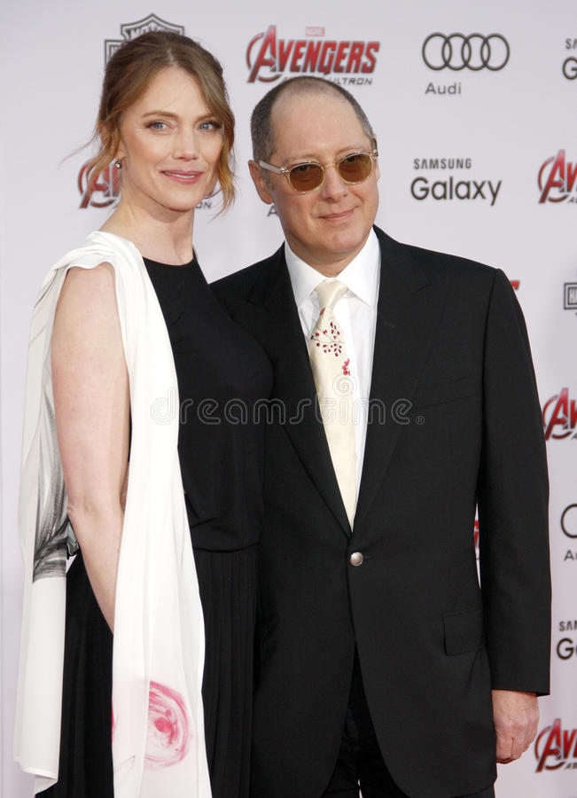 James Spader and Leslie Stefanson. At the World premiere of Marvel's 'Avengers: Age Of Ultron' held at the Dolby Theatre in Hollywood, USA on April 13, 2015 stock image
