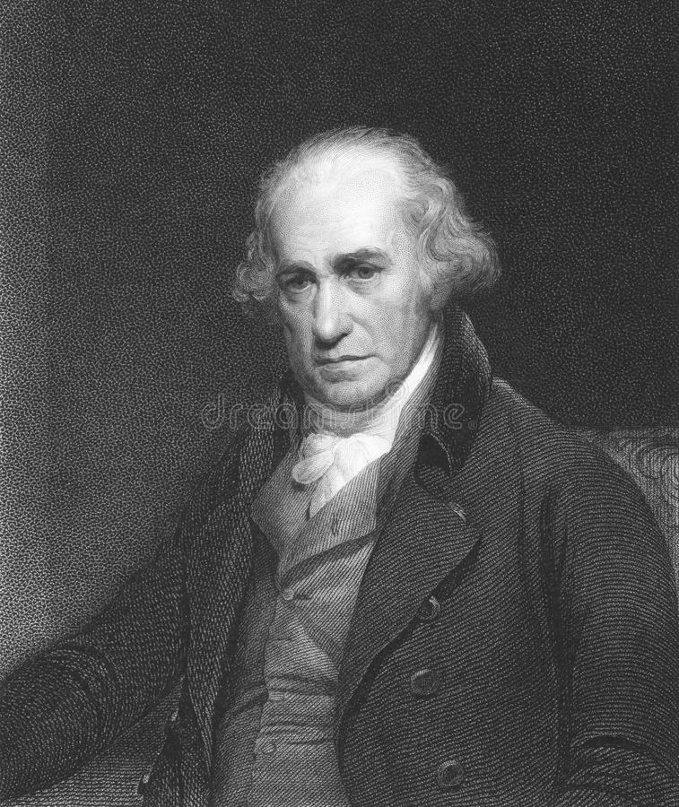 James Watt. (1736-1819) on engraving from the 1850s. Scottish inventor and mechanical engineer. Engraved by C.E. Wagstaff and published in London by Charles stock photography