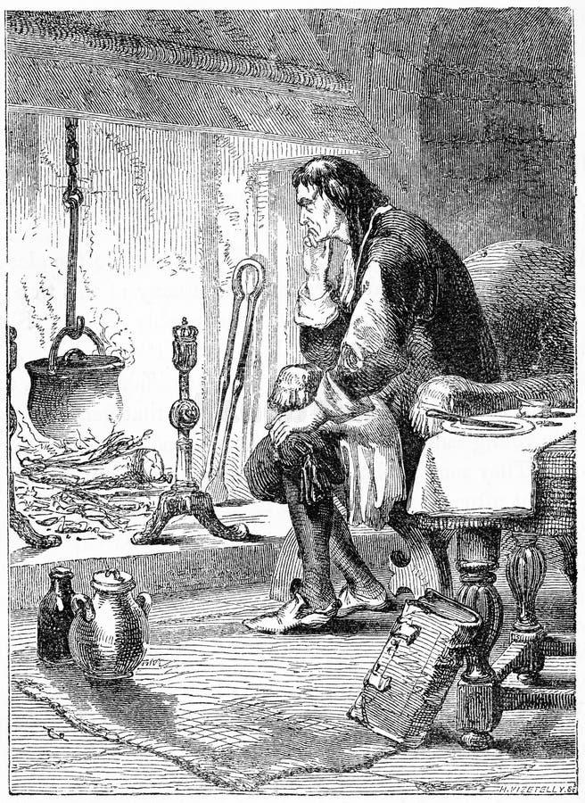 James Watt die de macht van stoom bestuderen stock illustratie