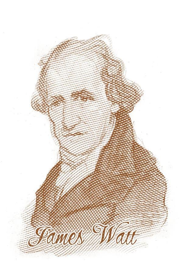 James Watt que grava o retrato do esboço do estilo foto de stock royalty free