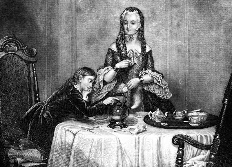 James Watts First Experiment met Stoomillustratie royalty-vrije illustratie