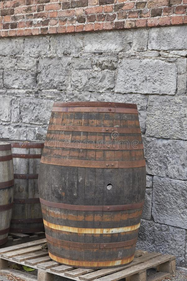 Jameson Distillery - wooden barrel/cask stock image