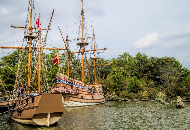 Jamestown żeglowania Osadniczy Brytyjscy statki fotografia stock