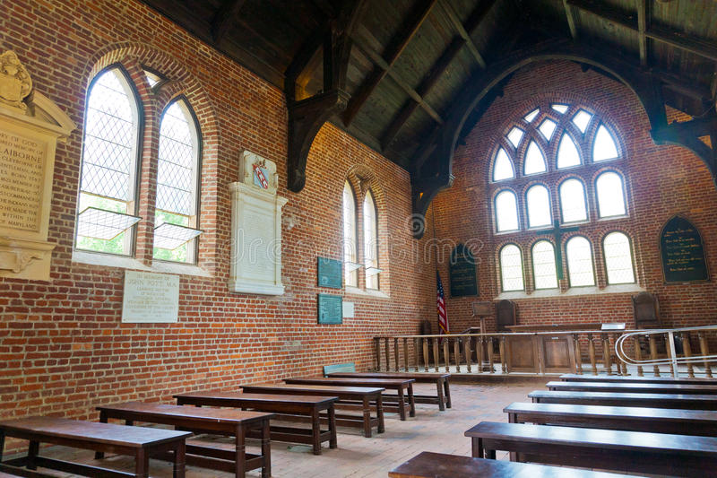 Jamestown Church - Interior. Interior of the Jamestown Settlement Church. Jamestown, located in coastal Virginia, is one of the first sites colonized in the stock photo