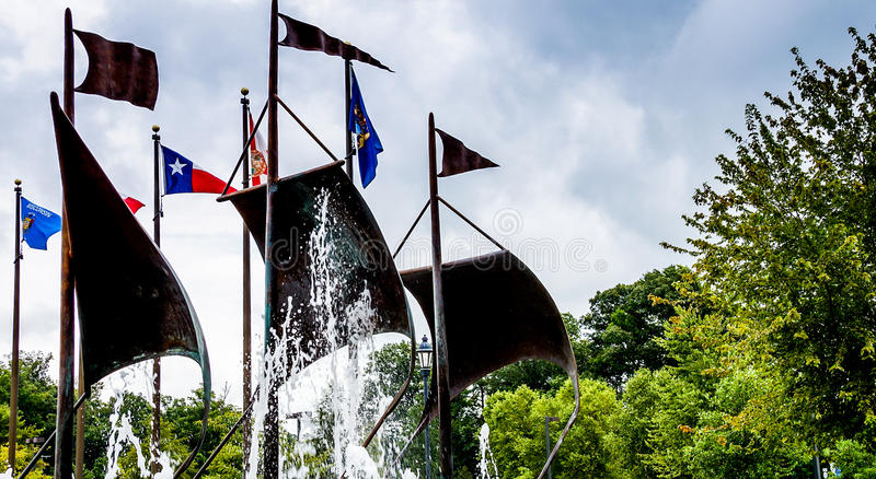Jamestown, United States - August 8, 2015: Flags in the commemor. Ative plaza at Jamestown, Virginia, historic site royalty free stock photography