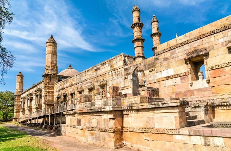 Jami Masjid, een belangrijke toeristische attractie bij Archeologisch Park champaner-Pavagadh - Gujarat, India royalty-vrije stock foto